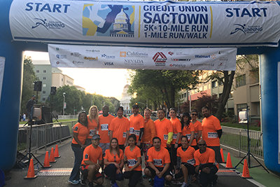 "Credit union employees on the early-morning ""race day"" during last year's Credit Union SacTown Run."