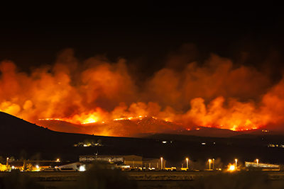 Wildfires at night