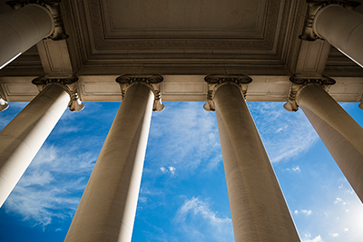 Image of pillars under a civic building