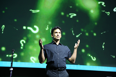 Keynote speaker Jason Latimer during the opening general session at REACH 2018.