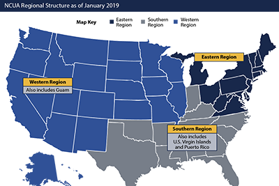 Image of new NCUA regional district map