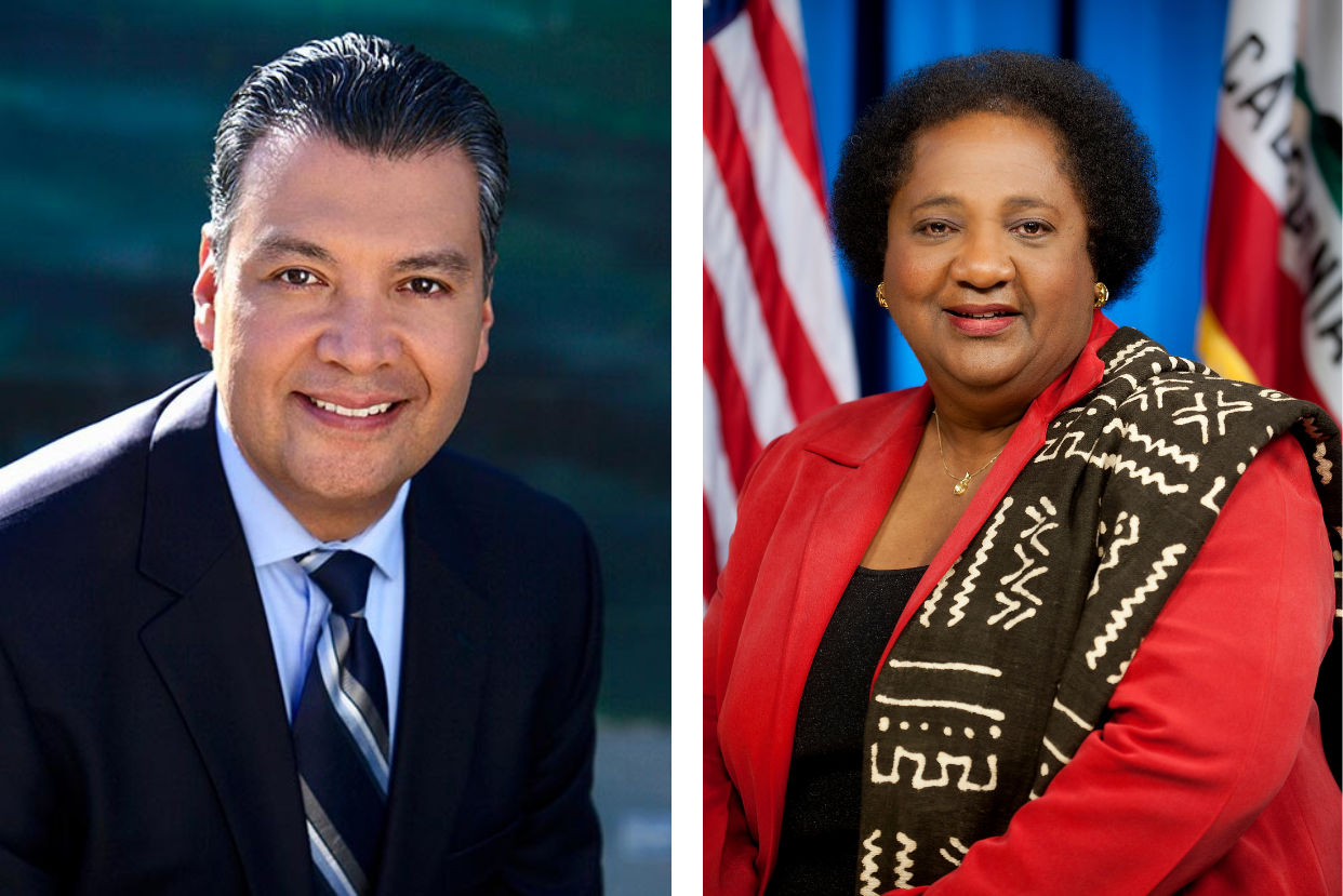 L-R: Alex Padilla, appointee for California to the U.S. Senate; and Shirley Weber, secretary of state nominee for California