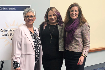 L-R: Diana Dykstra, President and CEO of the California and Nevada Credit Union Leagues; Meghan Bishop, Political Management Student and recipient of the Kelly J. Purcell Credit Union Memorial Fund Scholarship; and Lara Brown, Director of the Graduate School of Political Management at George Washington University.