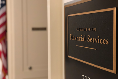 Image of House Financial Services Committee lobby sign