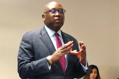 National Credit Union Administration (NCUA) Chairman Rodney Hood discusses issues with California credit union leaders at Provident CU on Monday.
