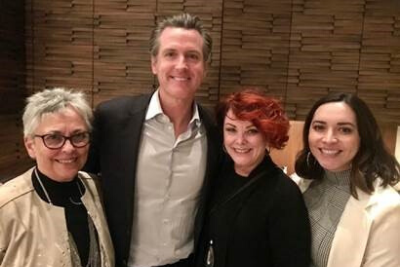 L-R: California and Nevada Credit Union Leagues President and CEO Diana Dykstra; California Gov. Gavin Newsom; Patelco CU CEO Erin Mendez; and Leagues Manager of Political Advocacy Heather deNecochea.