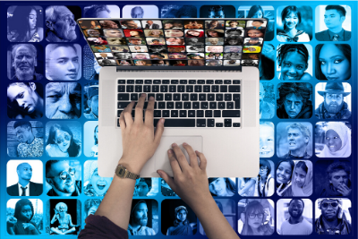 Image of lap top user with images of faces everywhere