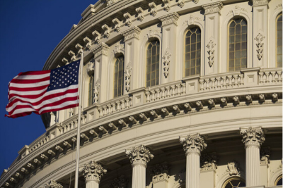 Image of congressional capitol dome and American flag
