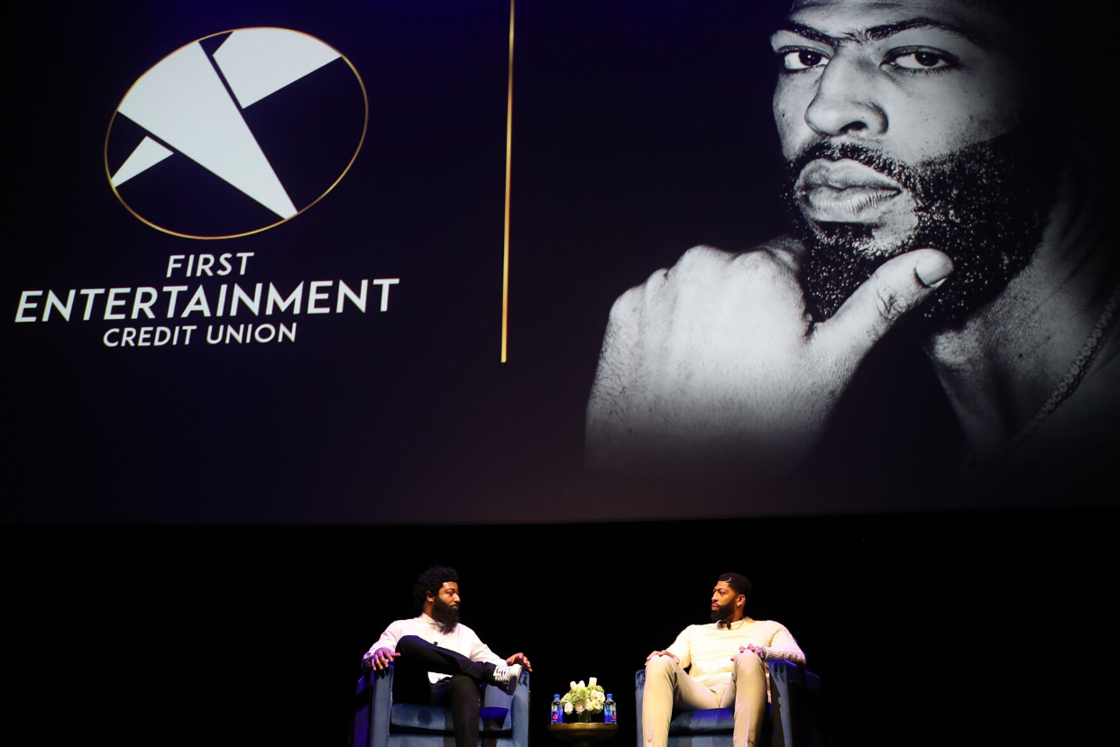 Los Angeles Lakers forward Anthony Davis talks on stage with First Entertainment Chief Marketing Officer Amondo Redmond about being the official brand ambassador for the credit union.